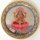 Lakshmi Goddess Painting Handmade Indian Rajasthan Jaipur Marble Plate Decor Art