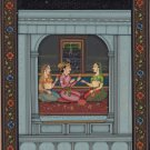 Mughal Handmade Painting Moghul Indian Miniature Harem Folk Watercolor Paper Art
