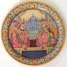 Shah Jahan Mumtaz Mahal 9″ Marble Plate Art Handmade Mughal Home Decor Painting