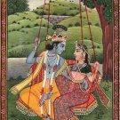 Krishna Radha Kangra Handmade Painting Hindu God Goddess Watercolor Image Art