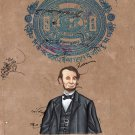 Abraham Lincoln Art Handmade Indian Miniature Old Stamp Paper Portrait Painting