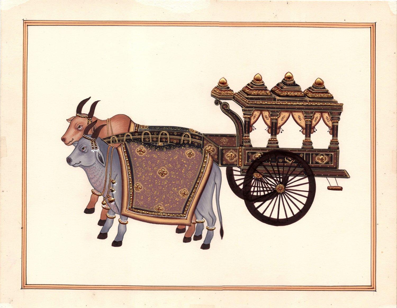 Indian Miniature Painting Handmade Rajasthani Ethnic Bullock Chariot Paper Art
