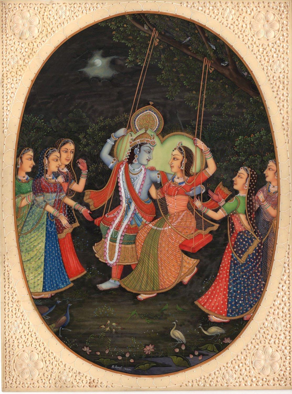 Krishna Radha Painting Handmade Indian Hindu Krishn Gopis Ethnic Miniature Art