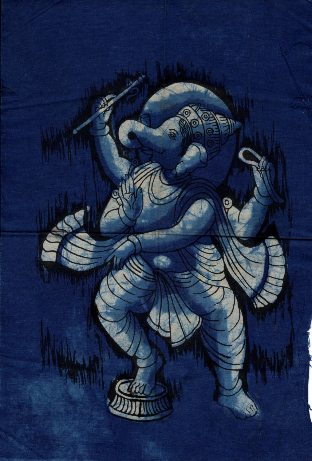 Ganesh Batik Art Handmade Indian Tribal Cotton Ethnic Religion Ganesha Painting