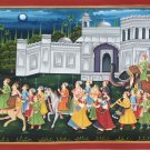 Rajasthan Maharajah Procession Painting Handmade Indian Royal Ethnic Folk Art