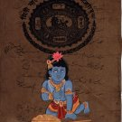 Krishna Balakrishna Art Hand Painted Hindu Religion Old Stamp Paper Painting