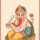Ganesha Painting Indian Hindu Hand Painted Paper Watercolor Ganesh Religious Art