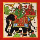 Rajasthani Phad Painting Handmade Indian Folk Miniature Royal Elephant Wall Art