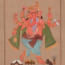 Ganesha Art Handmade Indian Hindu Ethnic Religion Miniature Ganesh God Painting