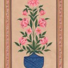 Mughal Floral Miniature Painting Moghul Indian Handmade Nature Lotus Flower Art