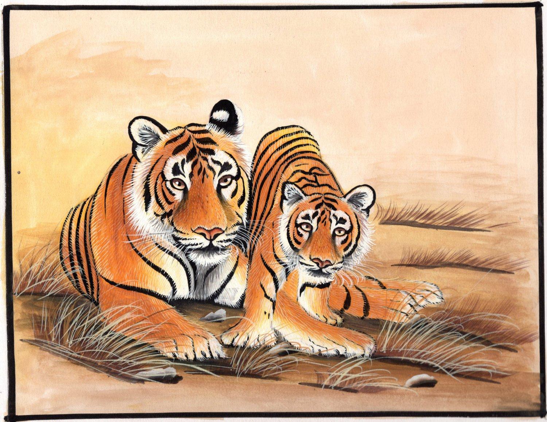 Tiger Handmade Painting Indian Miniature Ethnic Wildlife Animal Watercolor Art