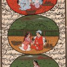 Mughal Empire Art Handmade Indian Miniature Watercolor Moghul Ethnic Painting