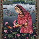 Ragini Ragamala Handmade Painting Rajasthani India Ethnic Folk Paper Fine Art