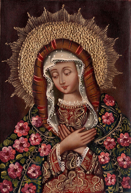 Madonna Peruvian Cuzco Art Handmade Christian Oil on Canvas Religious Painting