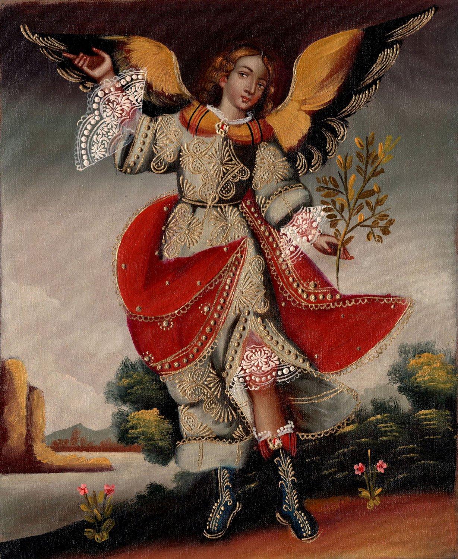 Archangel Uriel Peruvian Cuzco Art Handmade Oil on Canvas Religious Painting