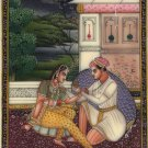 Mughal Painting Handmade Miniature Moghul Watercolor Romantic Indian Ethnic Art