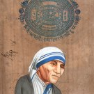 Mother Teresa Painting Handmade Indian Miniature Old Stamp Paper Portrait Art