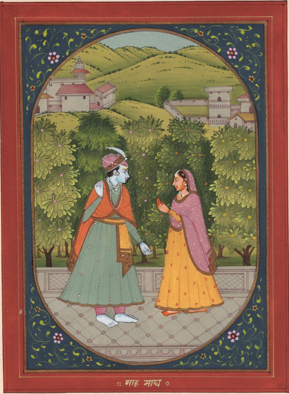 Krishna radha baramasa art handmade classical indian for Classical mural