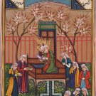 Persian Miniature Manuscript Painting Rare Illuminated Islamic Handmade Folk Art