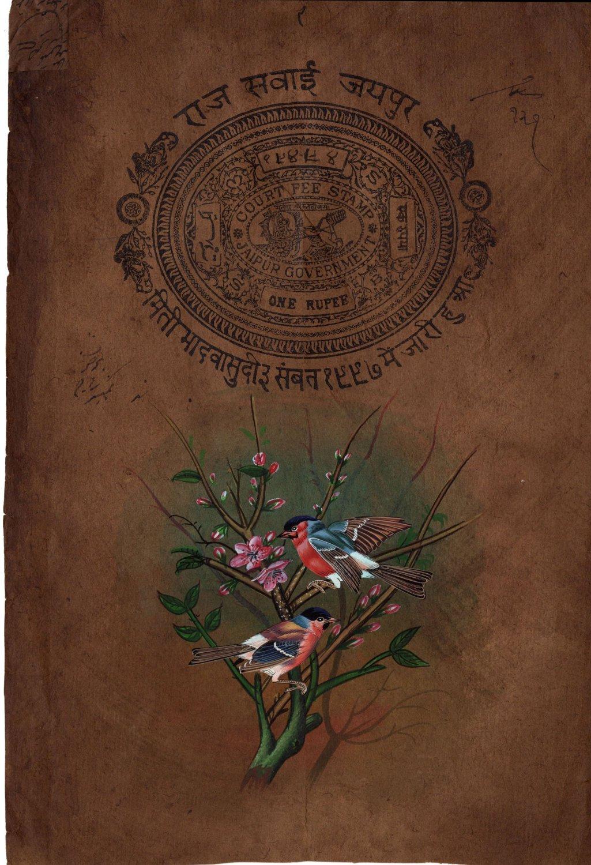 Indian Robin Bird Painting Handmade Miniature Nature Stamp Paper Watercolor Art