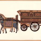 Indian Miniature Painting Handmade Rajasthani Ethnic Paper Art Horse Chariot