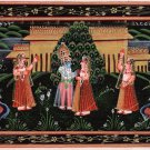 Indian Miniature Painting of Krishna and Radha on Silk with Opaque Watercolor