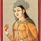 Indian Miniature Painting Handmade Mughal Empress Nur Jahan Portrait Moghul Art