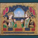 Tanjore Shah Jahan Mumtaz Mahal Painting Handmade Indian Thanjavur Mughal Art