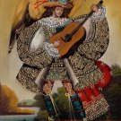 Musician Angel Guitar Peruvian Cuzco Art Handmade Oil Canvas Folk Decor Painting