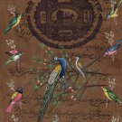 Indian Bird Miniature Painting Stamp Paper Handmade Peacock Ethnic Folk Artwork