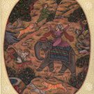 Mughal Miniature Painting Rare Handmade Watercolor Moghul Empire Royal Hunt Art