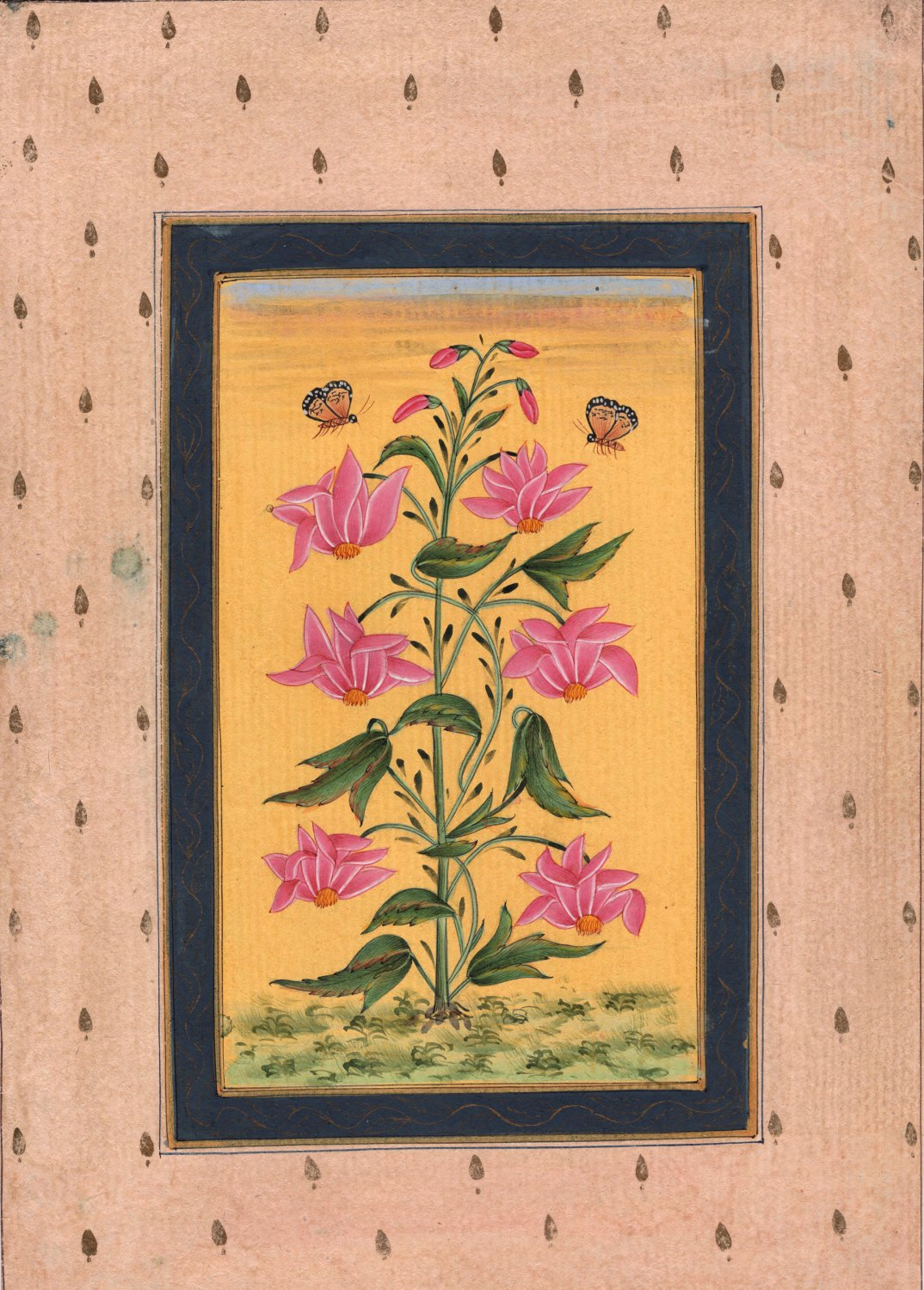 Indian Moghul Flower Miniature Painting Mughal Floral Handmade Watercolor Art