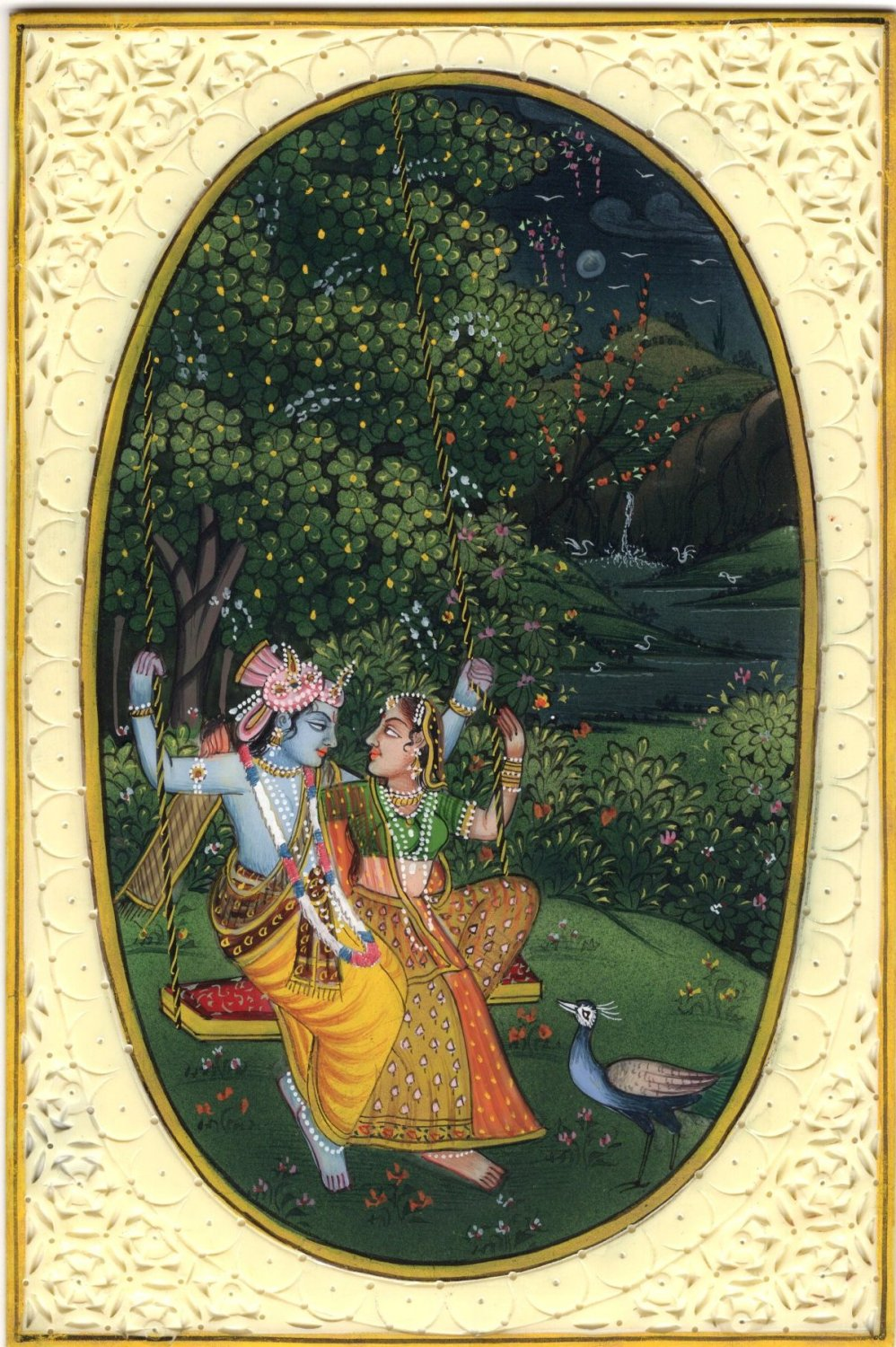 Indian Krishna Radha Decor Art Handmade Hindu Ethnic Miniature Folk Painting