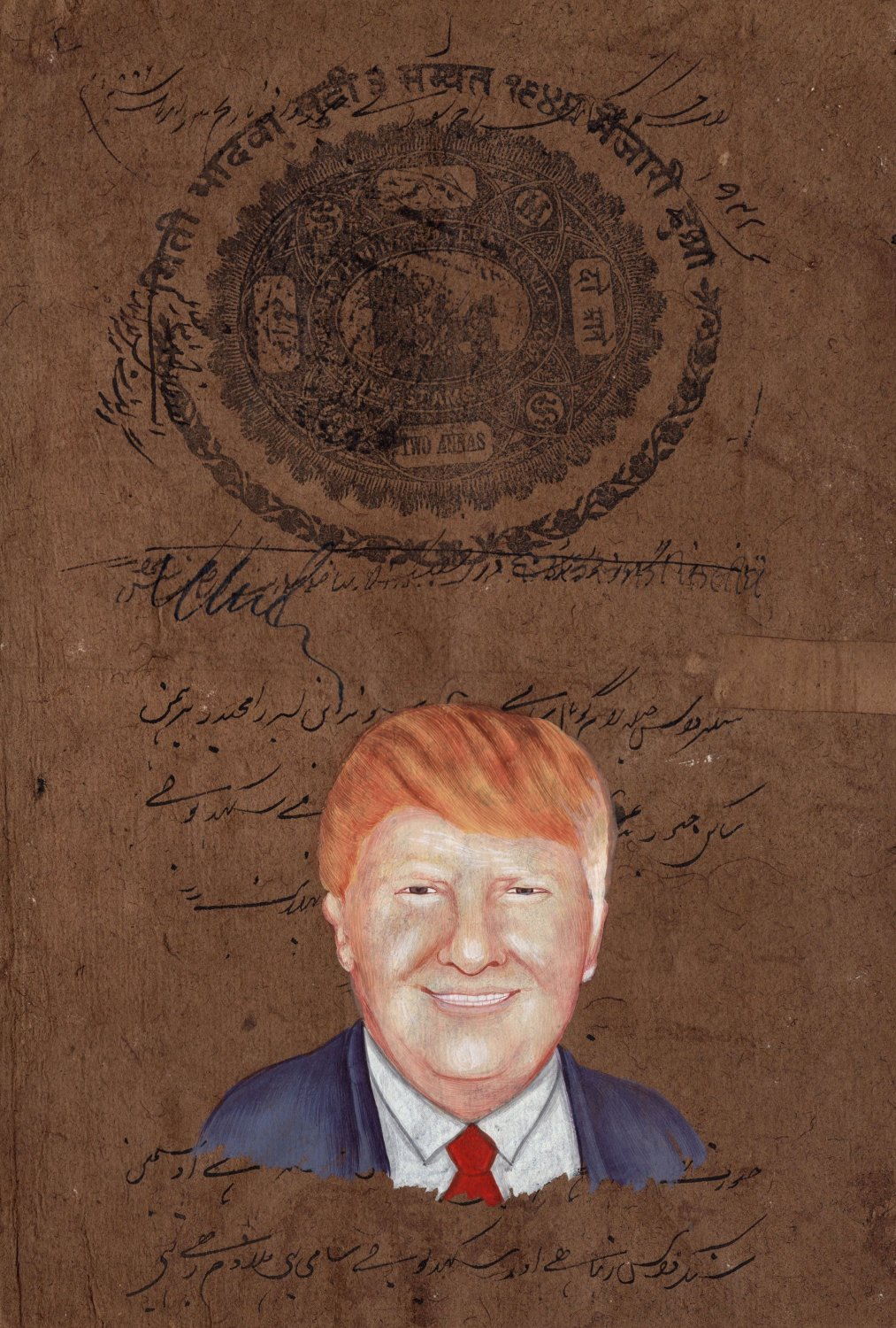 Donald Trump Art Handmade Indian Miniature Old Stamp Paper Portrait Painting