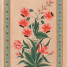 Mughal Floral Miniature Painting Handmade Flower Moghul Indian Ethnic Folk Art