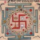 Tantrik Art Handmade Hindu Vishnu Swastika Indian Religion Tantric Painting