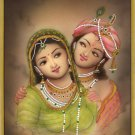 Krishna Radha Miniature Handmade Art Indian Ethnic Hindu Watercolor Painting