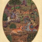 Moghul Miniature Painting Rare Handmade Watercolor Royal Mughal Dynasty Hunt Art