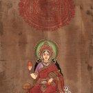 Indian Miniature Art Bhumi Earth Hindu Goddess Handmade Old Stamp Paper Painting