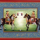 Mughal Empire Handmade Polo Art Modern Indian Decor Moghul Prince Painting