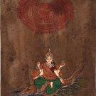 Indian Miniature Art River Ganga Hindu Goddess Handmade Stamp Paper Painting