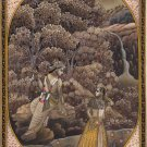 Radha Krishna Hindu Miniature Painting Handmade Indian Religious Flute God Art