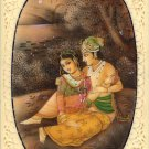 Radha Krishna Hindu Miniature Art Handmade Indian Spiritual Romance God Painting