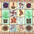 Madhubani Mithila Painting Indian Miniature Handmade Hindu Symbol Ethnic Artwork