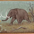 Mammoth Painting Handmade Extinct Wild Animal Pre Historic Indian Miniature Art