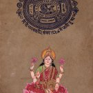 Lakshmi Painting Handmade Indian Miniature Hindu Goddess Stamp Paper Ethnic Art