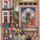 Indo Persian Miniature Art Handmade Mirza Ali Khamsa of Nizami Ethnic Iran Painting