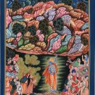 Krishna Art Handpainted Folk Painting of Lord Krishn Lifting Govardhan Mountain