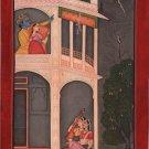 Kangra School Love Painting Handmade Indian Miniature Krishna Radha Pahari Art