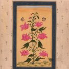 Mughal Floral Miniature Painting Moghul Indian Handmade Watercolor Flower Art